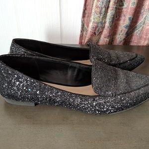 Black glitter flat loafer